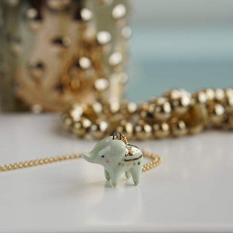 Lucky Elephant necklace-mint