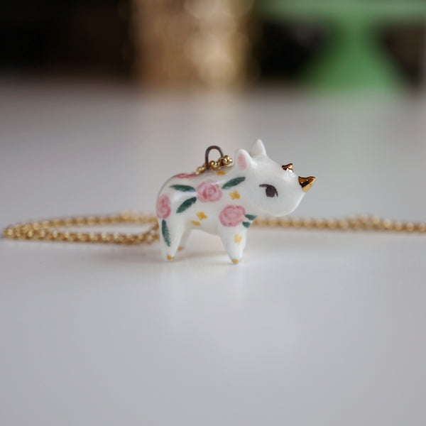 Floral Rhino Necklace