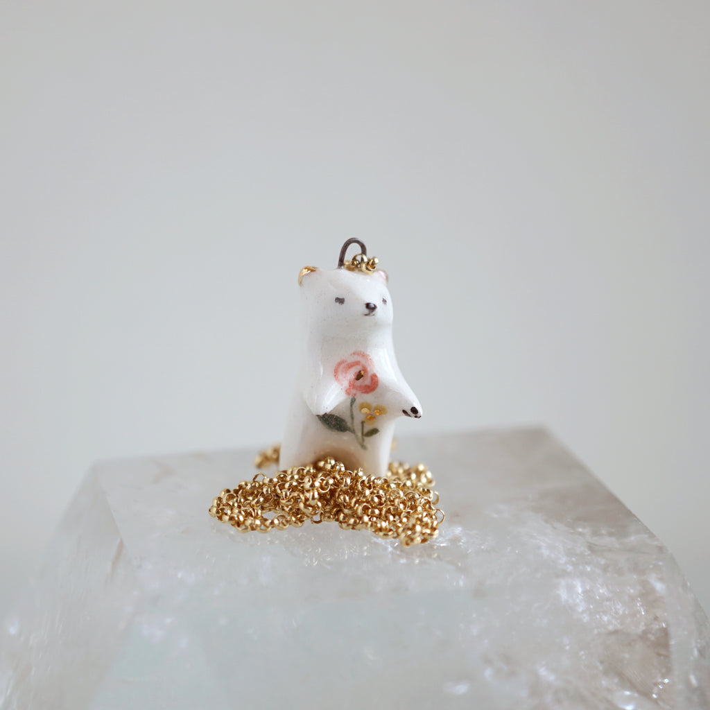 Floral Bear Necklace- Standing Tall