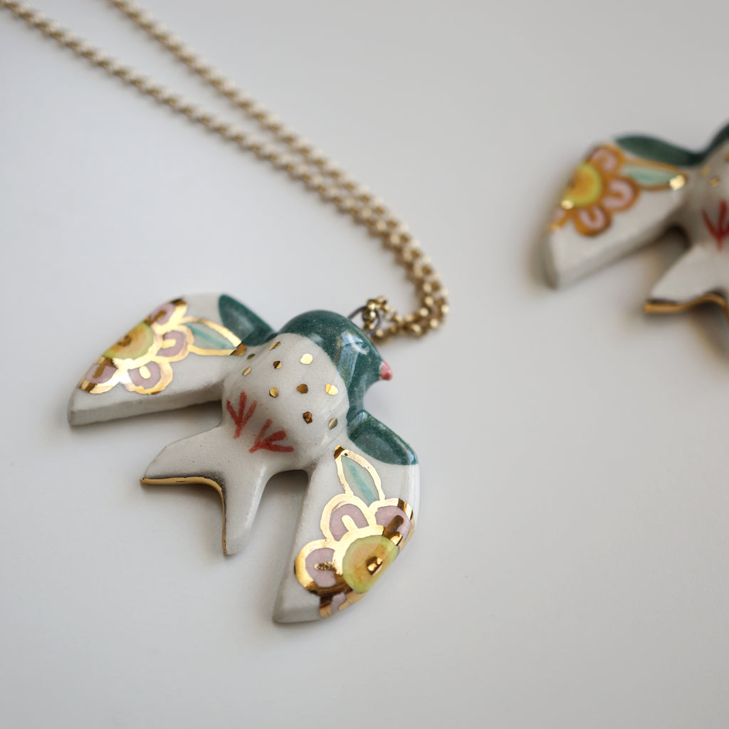 Floral Swallow Necklace
