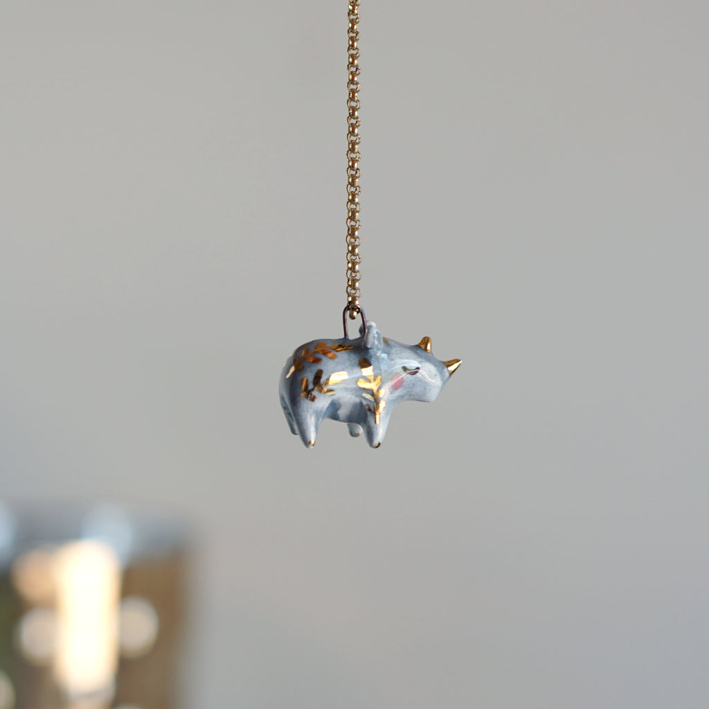 Grey Fern Rhino Necklace
