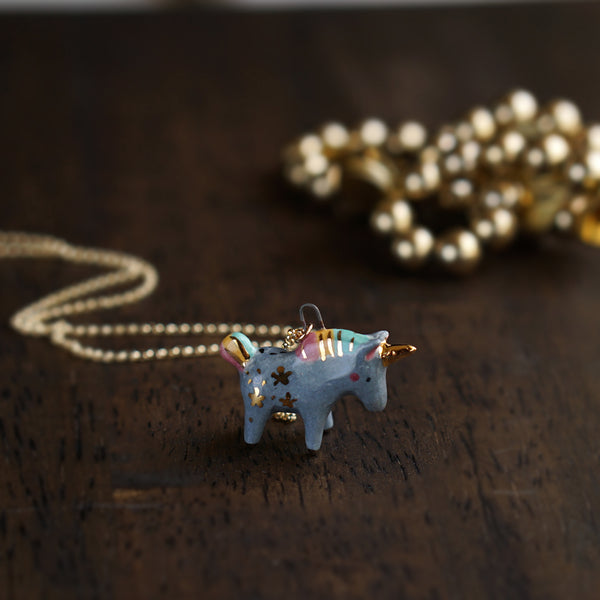 Grey Unicorn Necklace