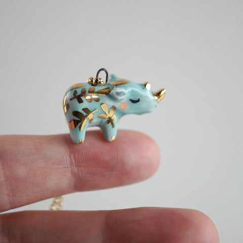 Blue Fern Rhino Necklace