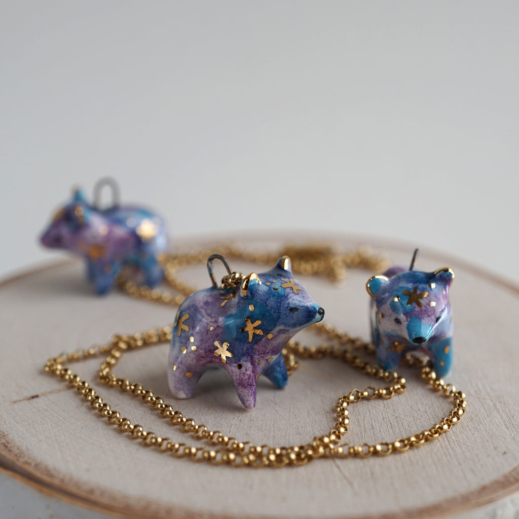 Galaxy Bear Necklace