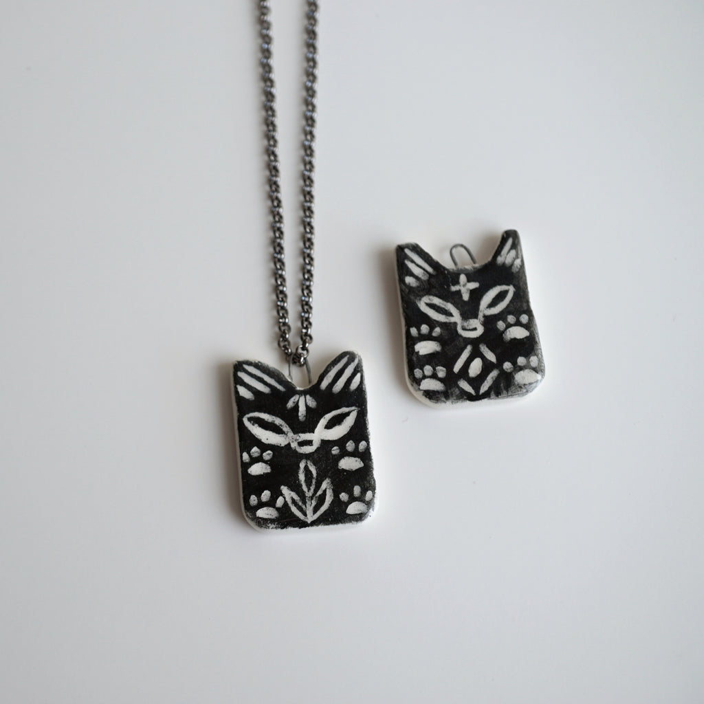 Black Wolf Cub Necklace