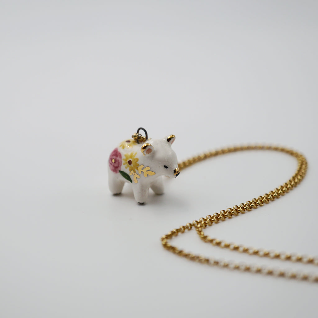 Floral Bear Necklace- on all fours