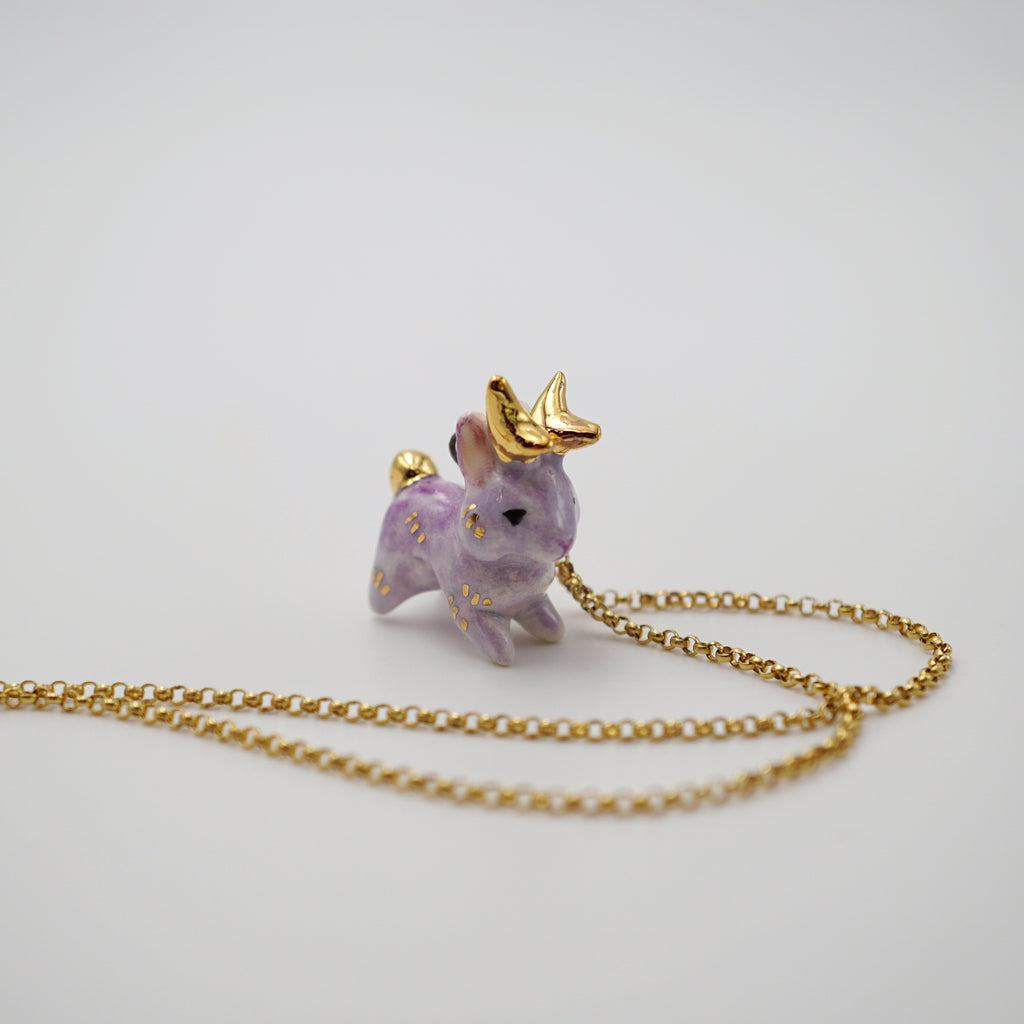 Lilac Jackalope Necklace