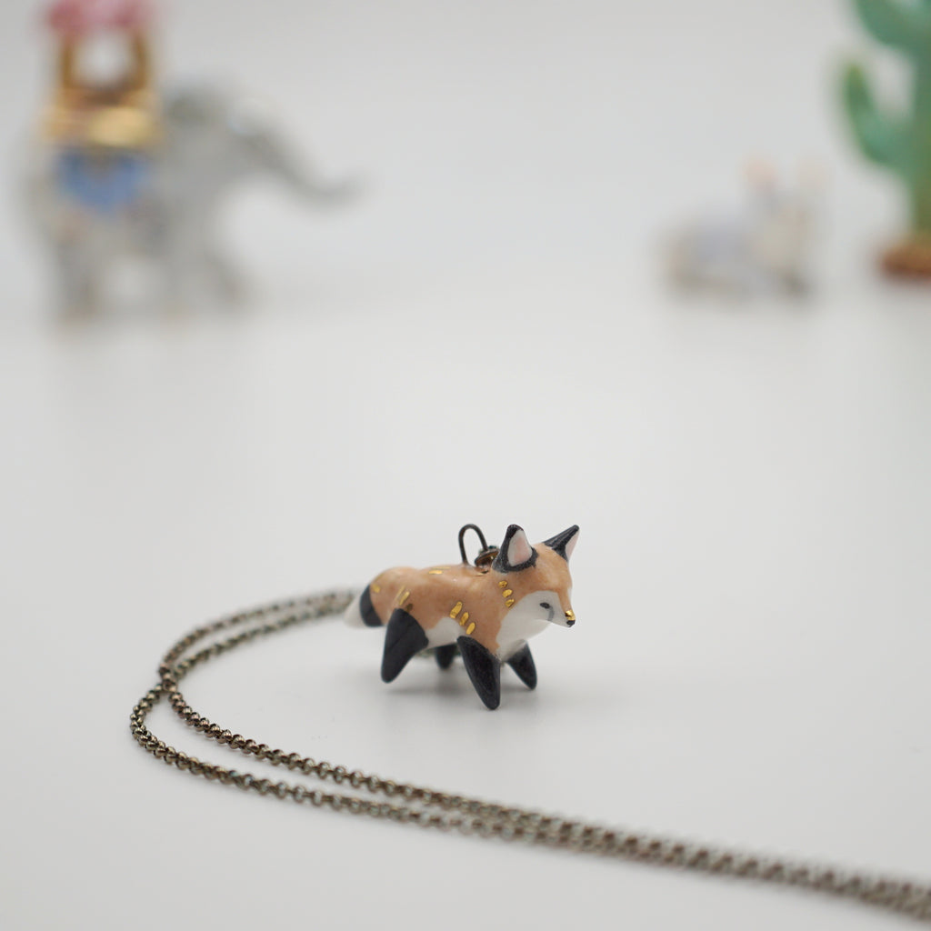 seconds sale- red fox necklace- glaze flaw