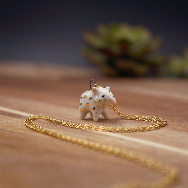 Baby Tapir Necklace- White