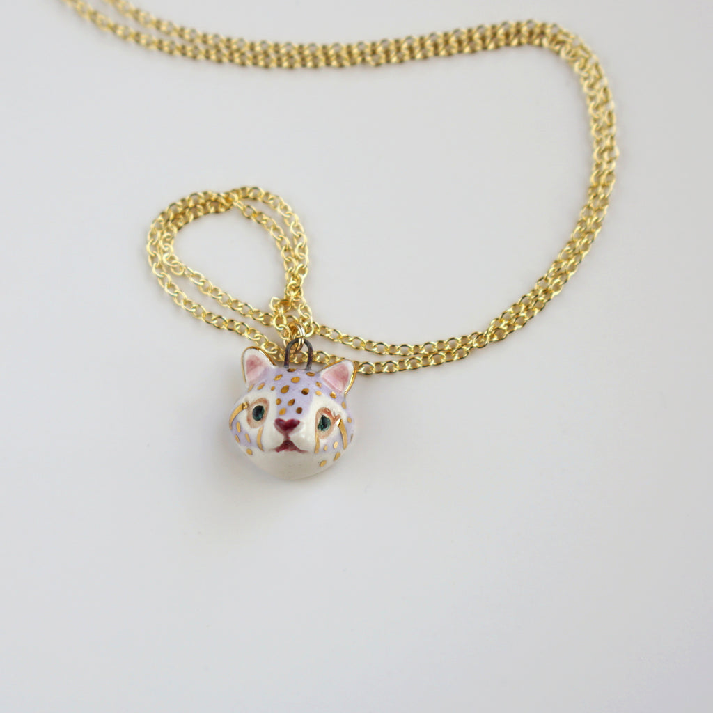 Snow Leopard Head Necklace