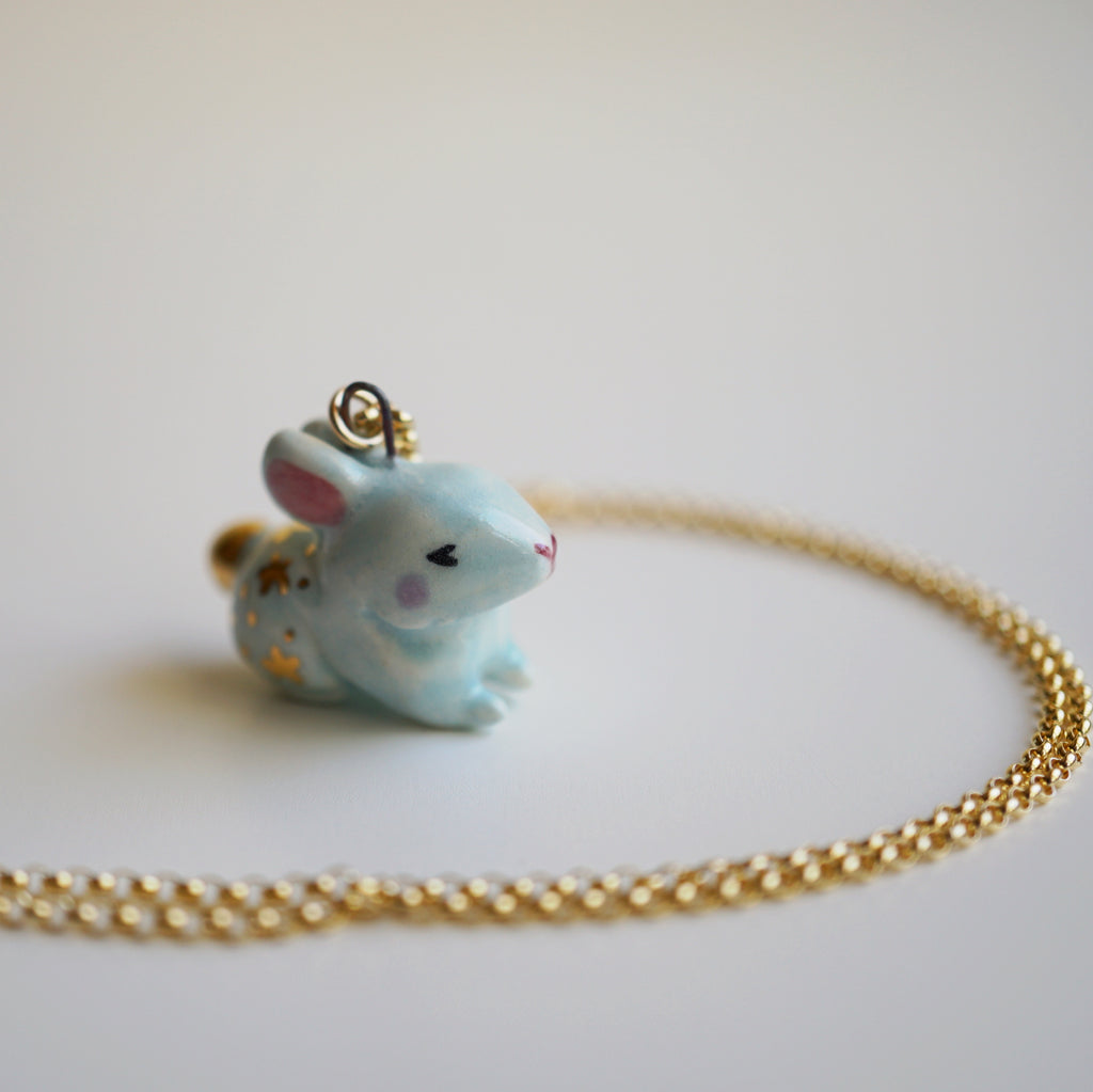 Blue Starry Bunny Necklace
