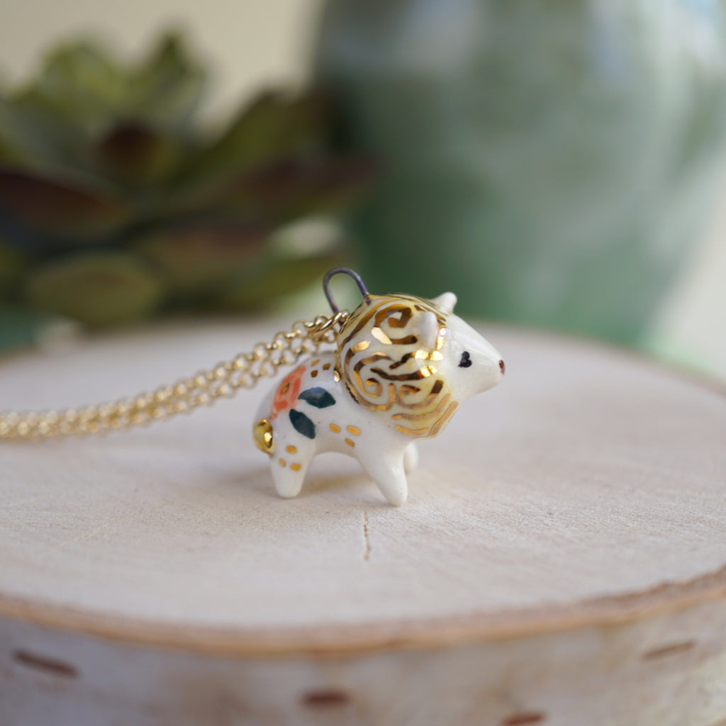 Floral Lion Necklace