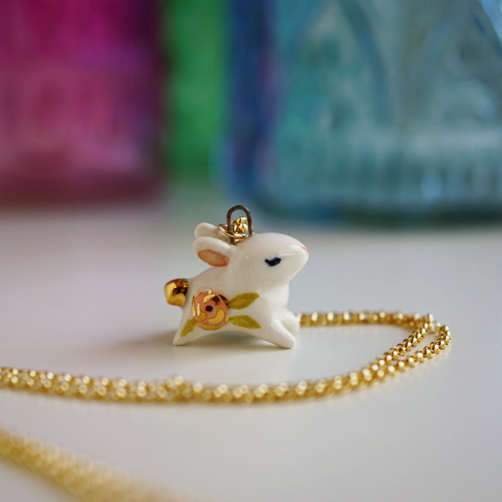 Floral Bunny Necklace