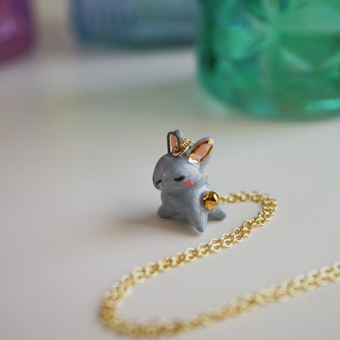 Grey Bunny Necklace
