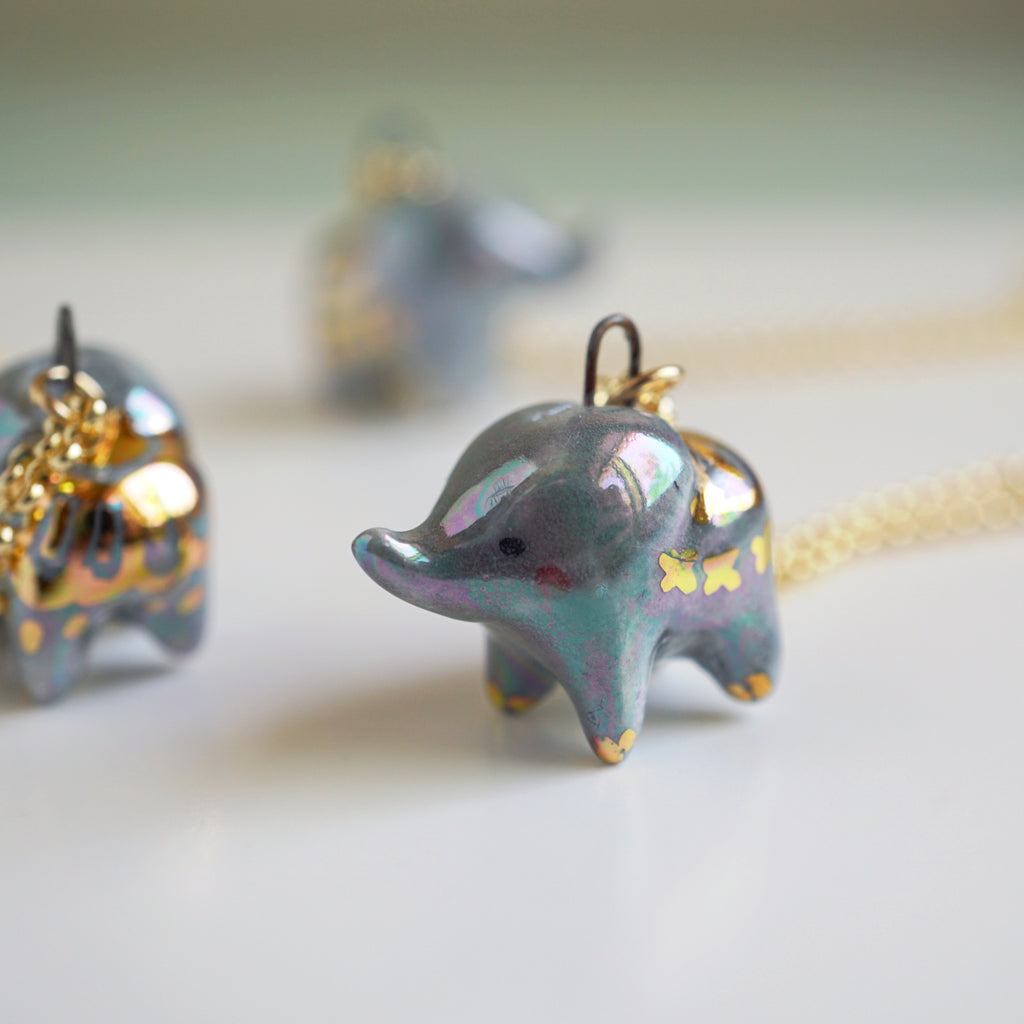 Aura Grey Lucky Elephant necklace