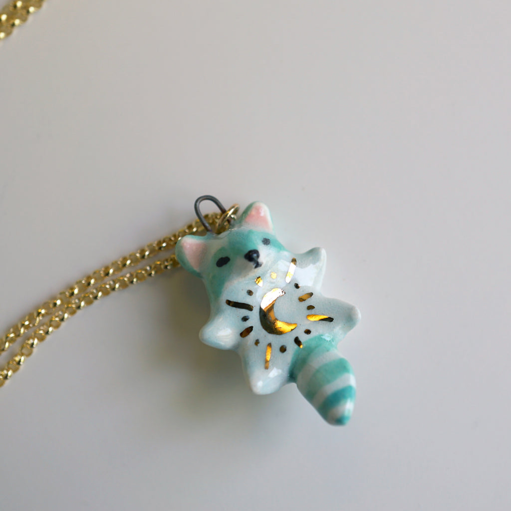 Moon Raccoon Necklace