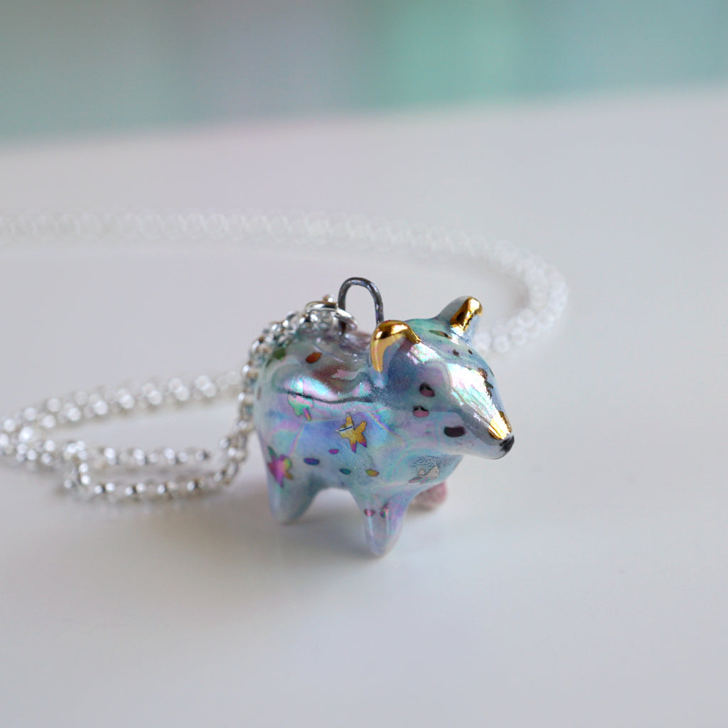 Aura Galaxy Bear Necklace