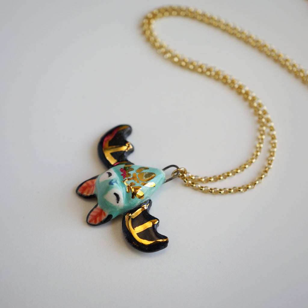 Blue Floral Bat Necklace