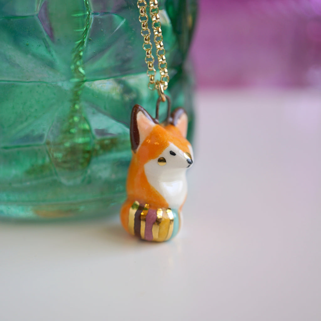 Rainbow Tailed Fox Necklace
