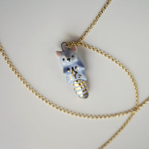 Blue Red Panda Necklace