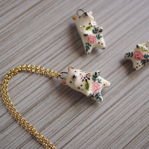 Floral Bear Necklace