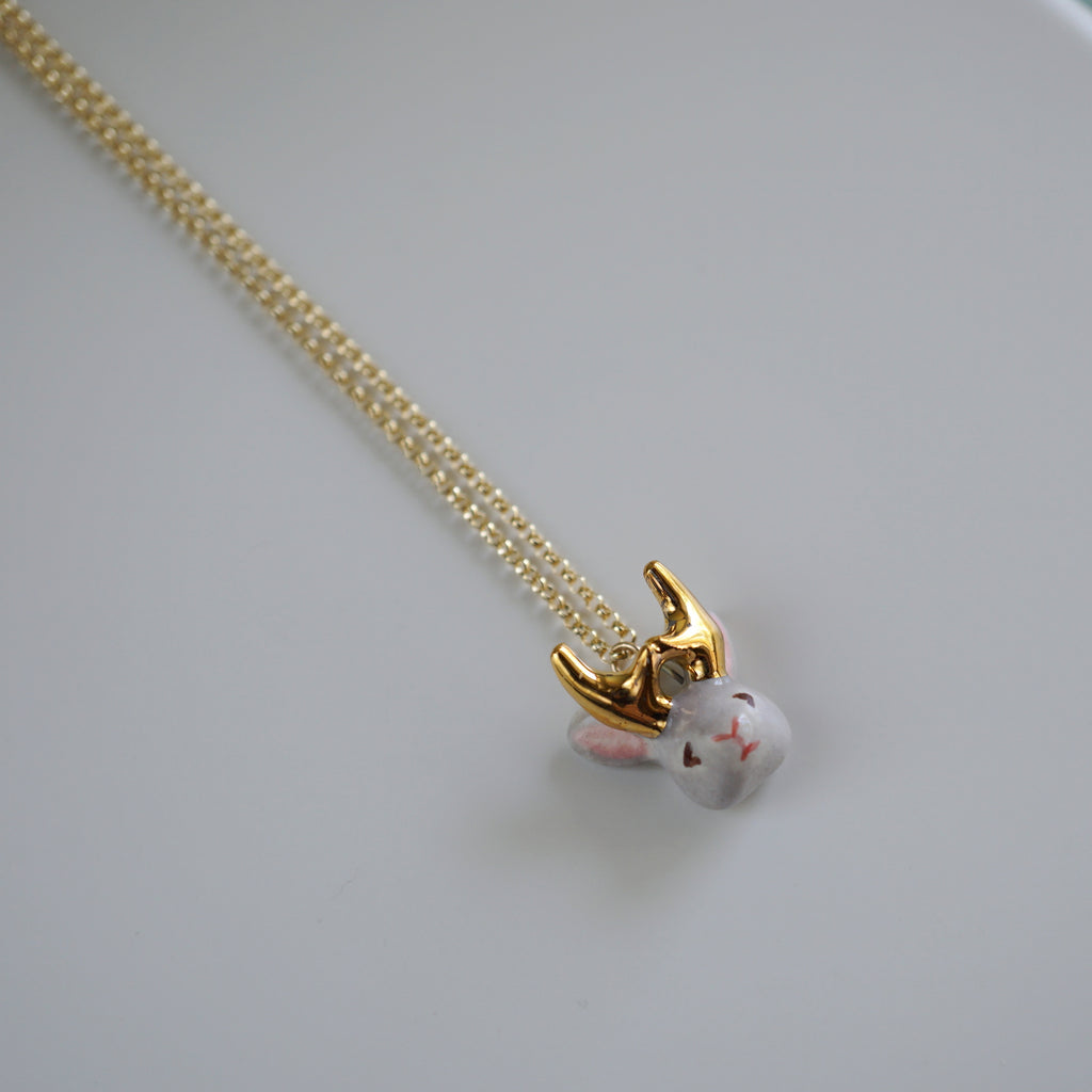 Jackalope Head Necklace
