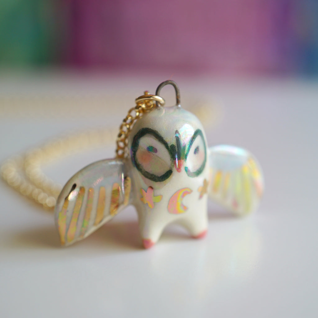 Blushing Owl Necklace