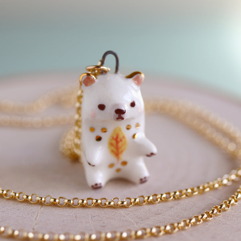 Yellow Leaf Bear Necklace