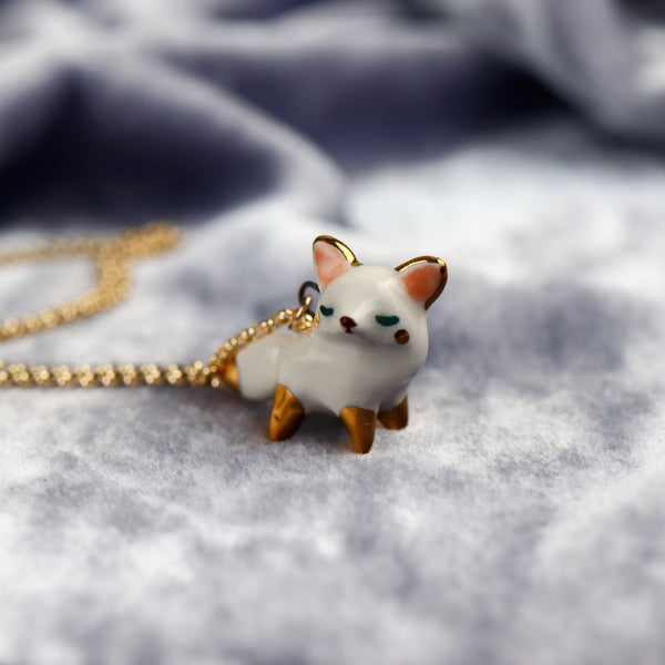 white Fox Necklace