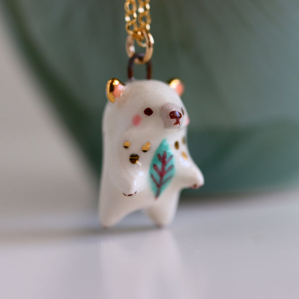 Winter Leaf Bear Necklace