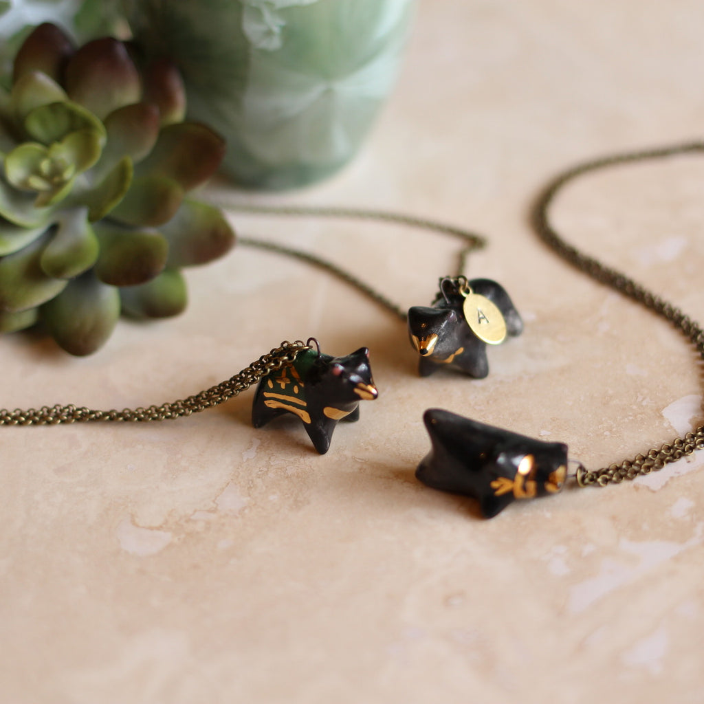 Black Bear Necklace- Seconds Sale