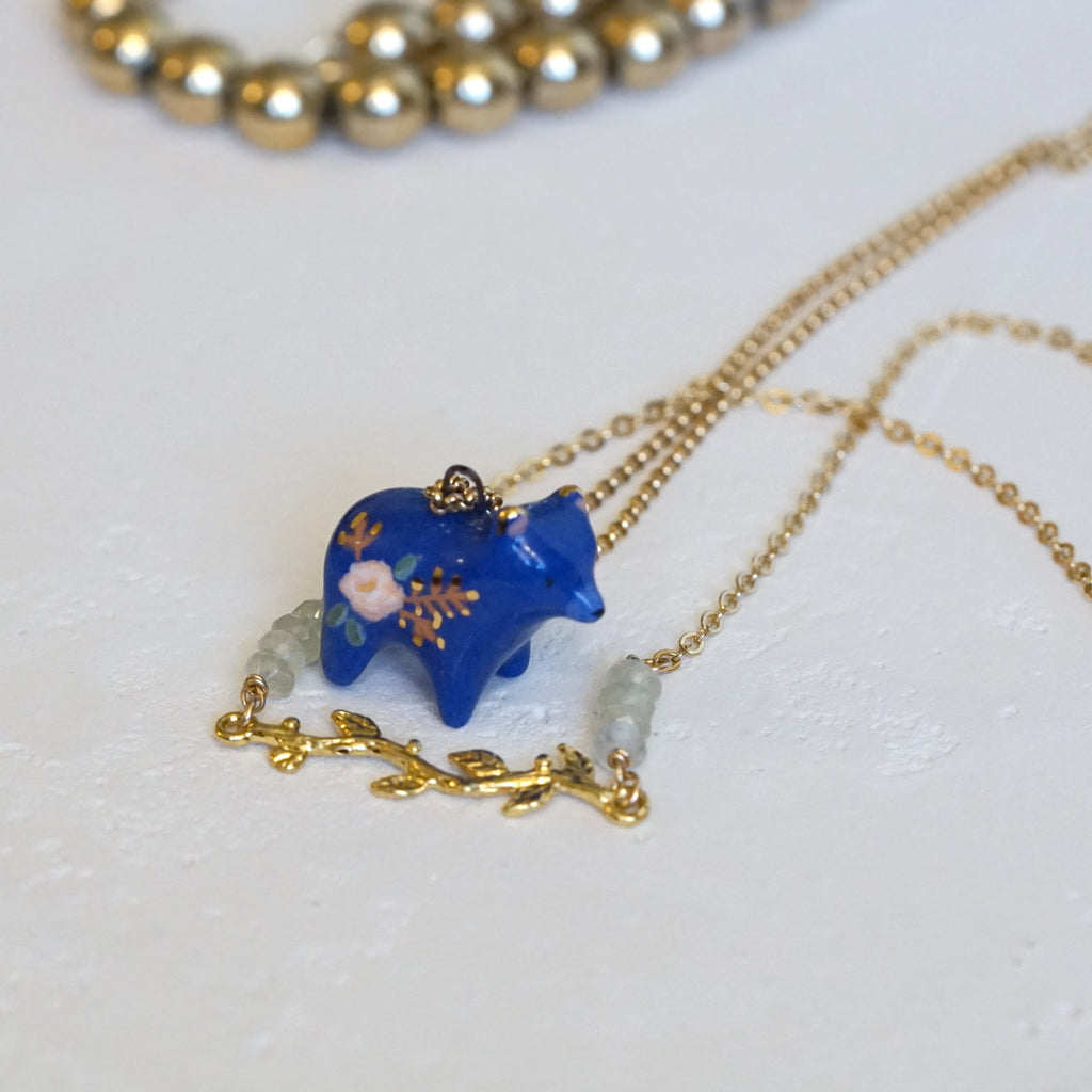 Floral Bear Necklace Set - Small Wild + Gemlark