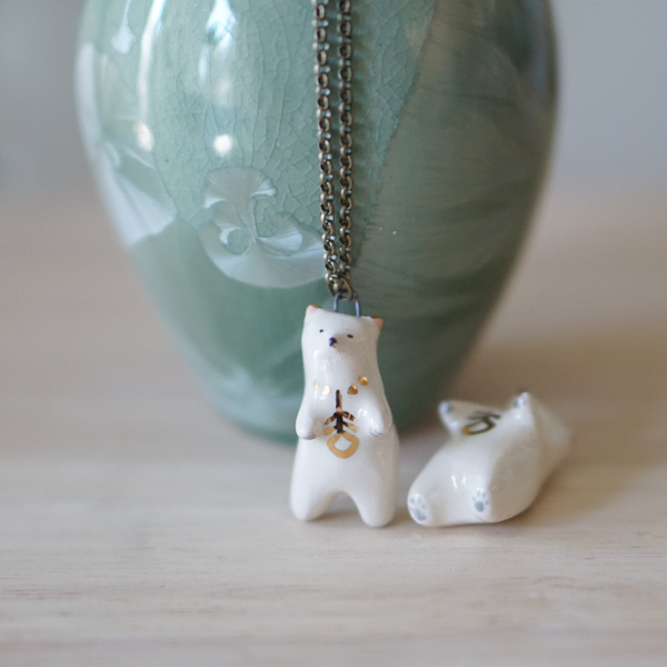 Feather Bear Necklace