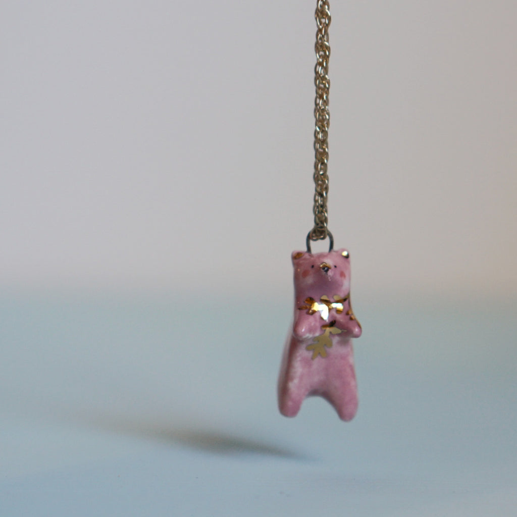 Pink Fern Bear Necklace