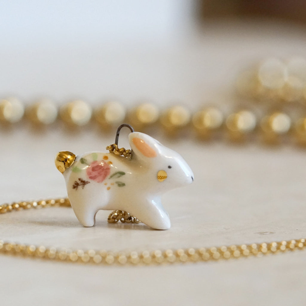 Floral Rabbit Necklace