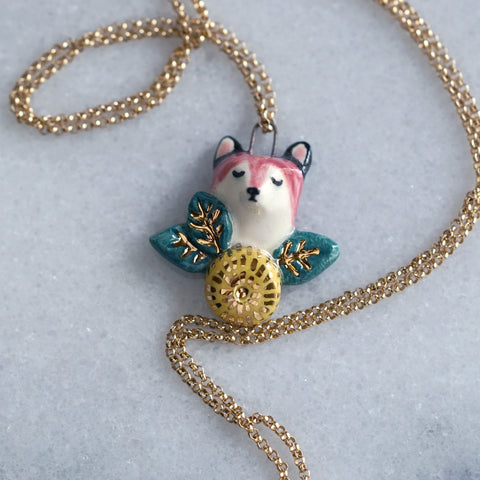 Flower and Fox Necklace