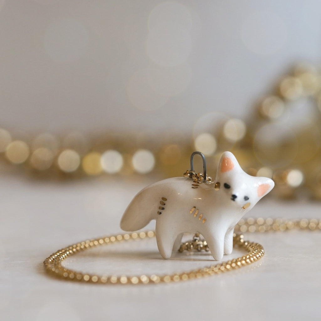 Gold Cheeked Fox Necklace
