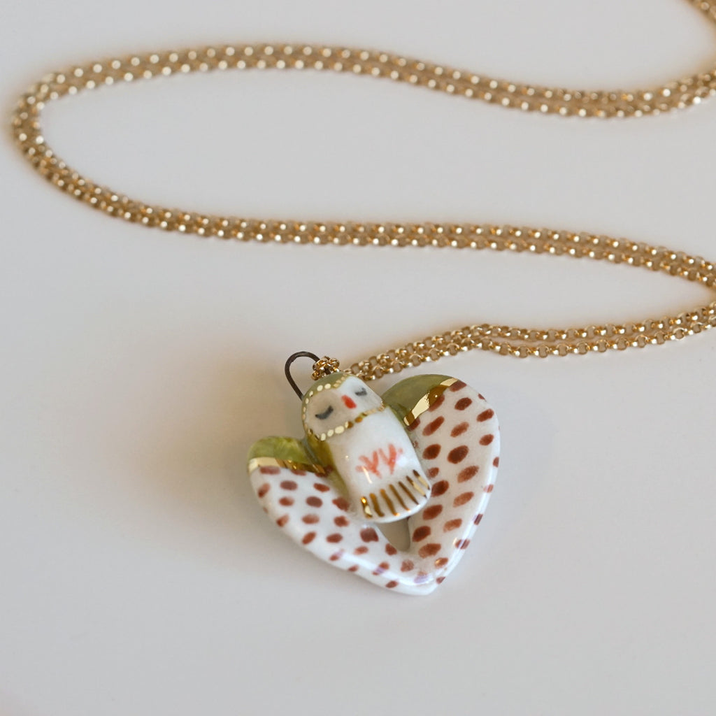 Olive Owl Necklace
