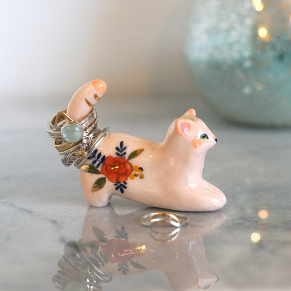 Mini Kitty Ring Holder- Peach floral