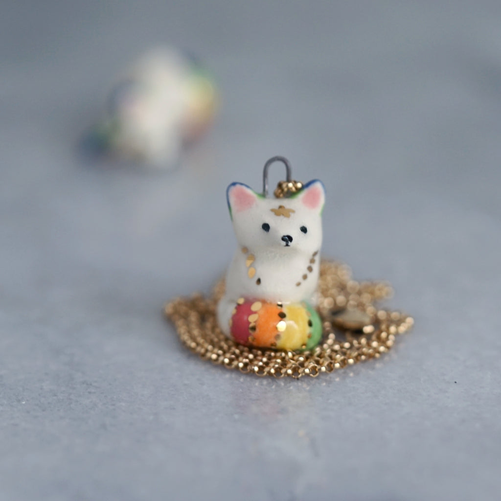 White Rainbow Fox Necklace