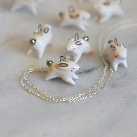 White-Golden-Tail Bunny Necklace