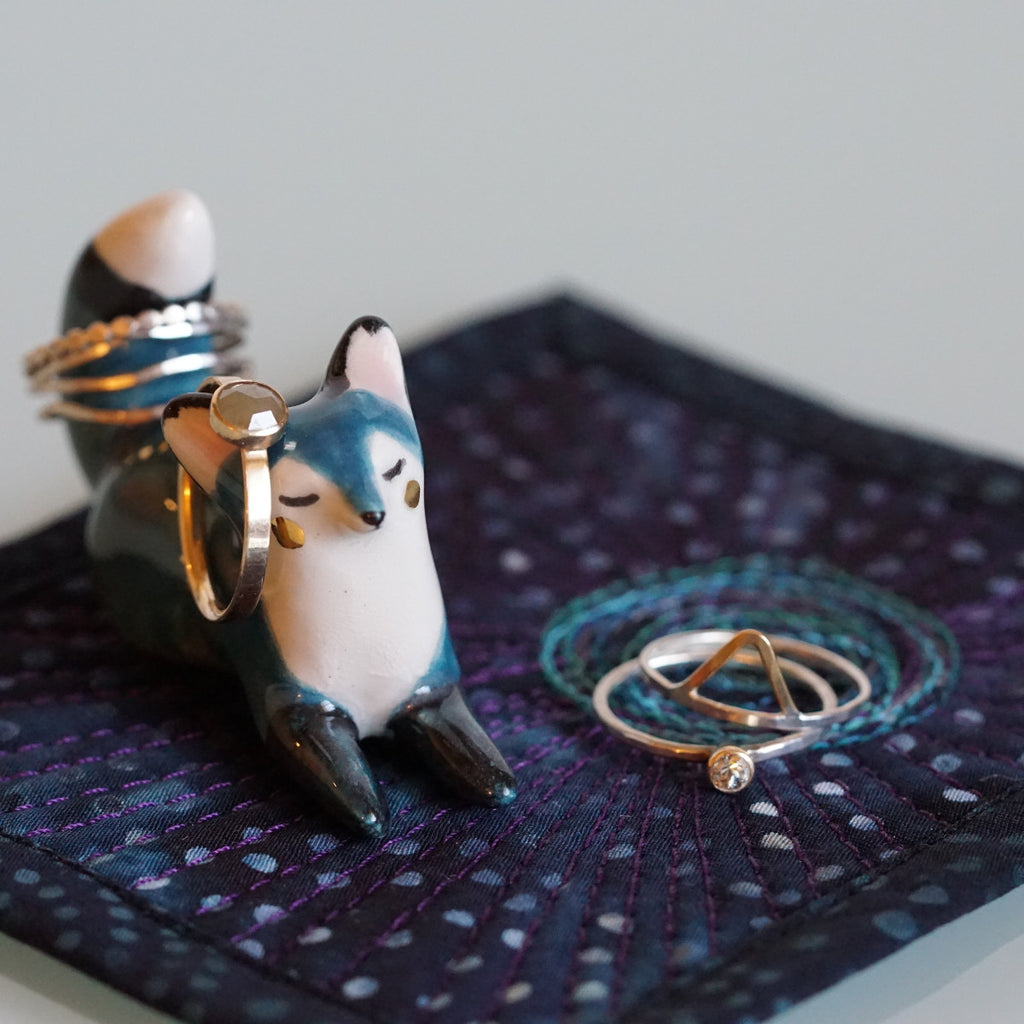 Teal Fox RIng Holder Totem with Galaxy Mat