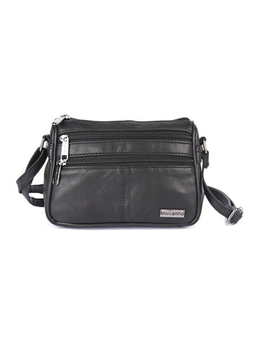 Double Zip Crossbody Leather Bag