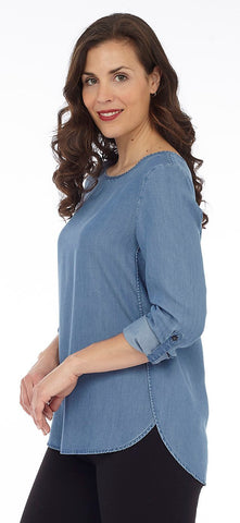 Tab Sleeve Top w/Scoop Hem
