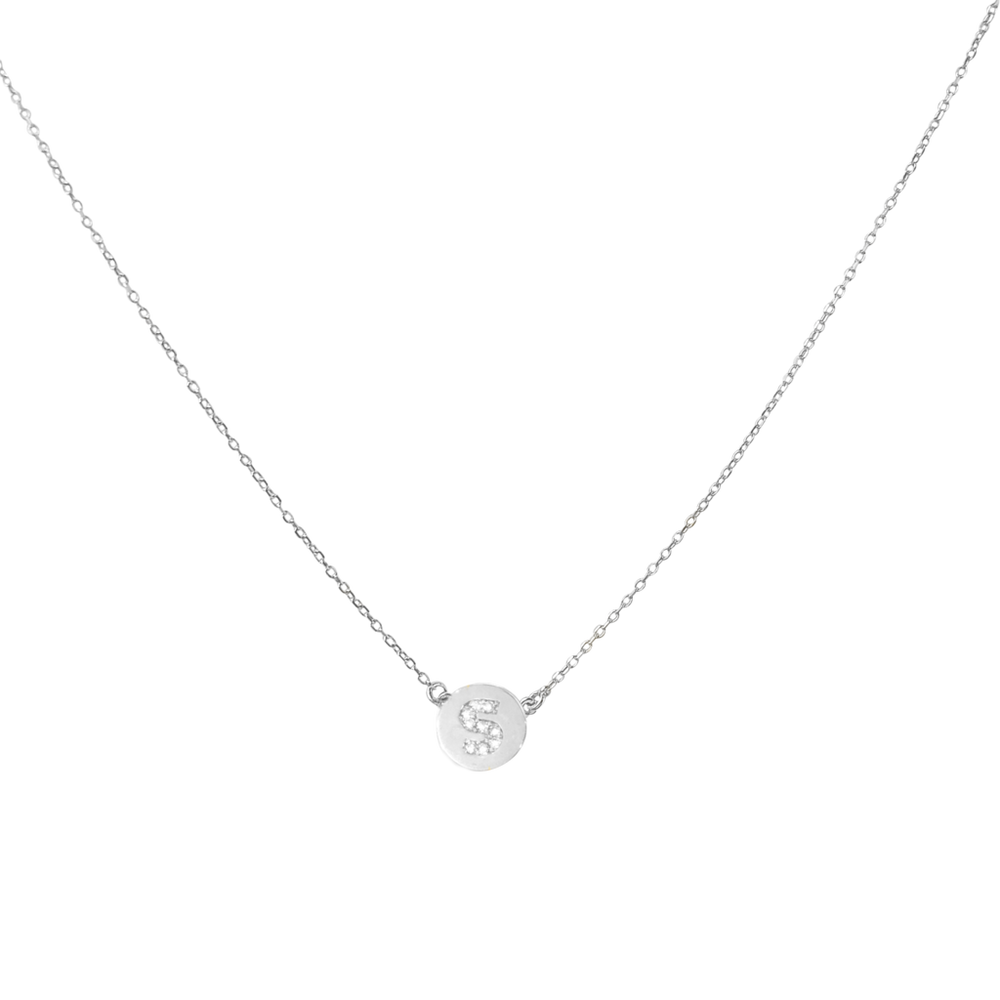 Mini Disc Diamond Initial Necklace