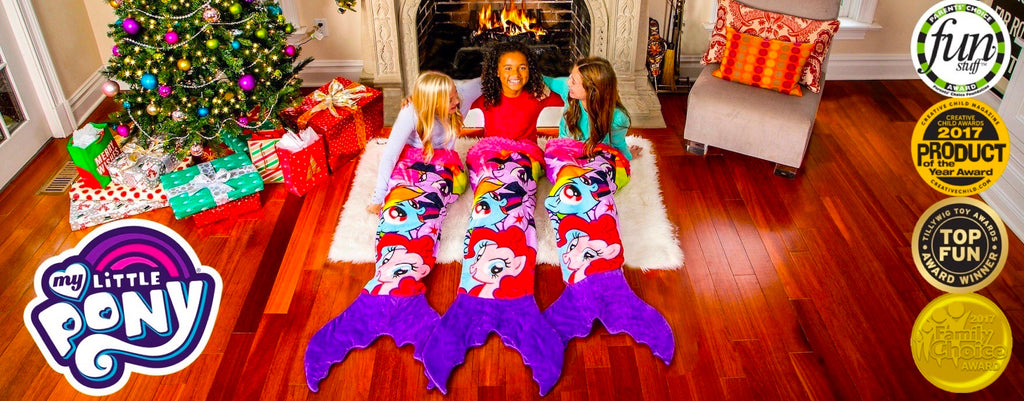 My Little Pony Blankets with three girls in them in front of the fireplace