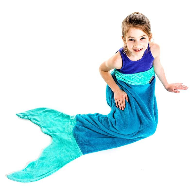 Kid in Blankie Tails Kids Green Mermaid Tail Blanket
