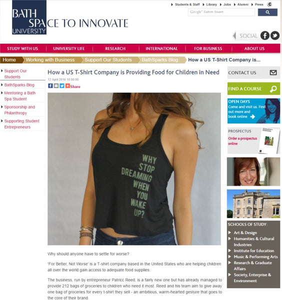 Bath Space to Innovate University FBNW Clothing with purpose