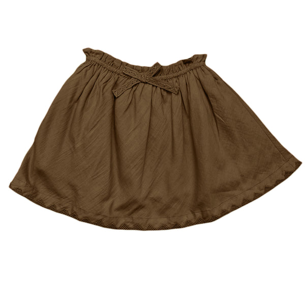 paperbag skirt with embroidered hem