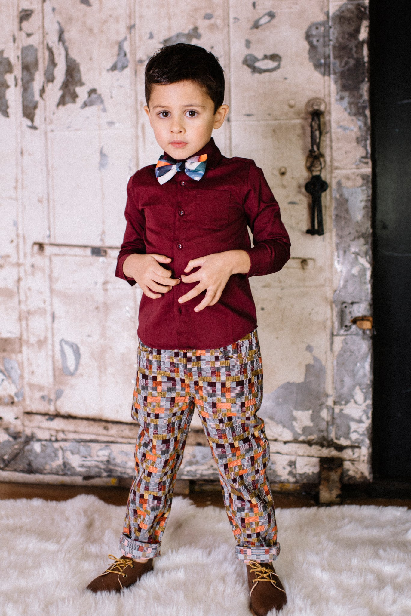 burgundy andrew shirt with bowtie